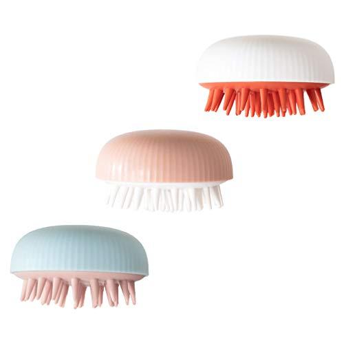 HEALLILY 3 x Haar-Shampoo-Bürste für Babys, Silikon-Bürste, Kopfhaut-Massagegerät für Erwachsene und Babys