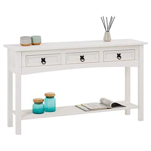 CARO-Möbel Konsolentisch Rural im Mexiko Stil Beistelltisch Kiefer massiv mit 3 Schubladen, 1 Ablageboden weiß lackiert