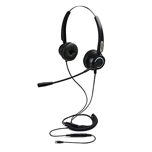 Cuffia PC Microfonica, AGPtek vivavoce cuffia binaurale universale Call Center cuffie telefoniche, migliore qualità del suono con cancellazione del rumore Mic + 3,5 MM QD + Volume Mute, Nero