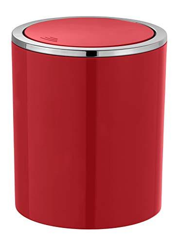 WENKO Schwingdeckeleimer Inca Red - Abfallbehälter mit Schwingdeckel Fassungsvermögen: 2 l, Kunststoff (ABS), 14 x 16.8 x 14 cm, Rot