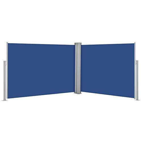Festnight Doppel Seitenmarkise Ausziehbar Sichtschutz Garten Sonnenschutz Balkon Balkonsichtschutz Windschutz Seitenrollo Terrasse Blau 100x1000 cm Reißfest