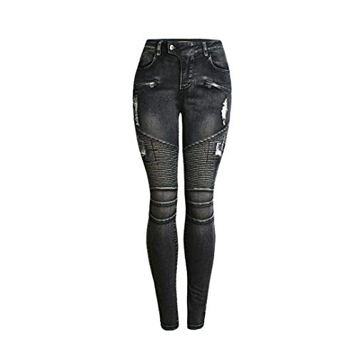 JCNHXD Skinny Jeans Woman Ripped Moto Biker Pencil Jeans Pantalones de Mezclilla Negros para Mujer...