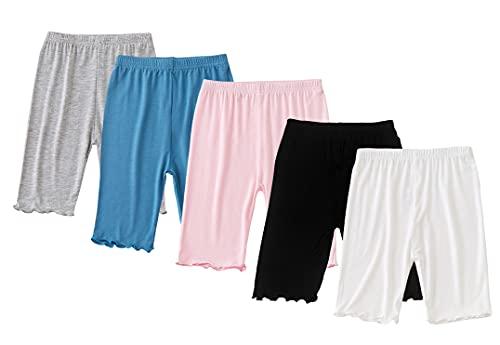 Maeau 4 pcs Shorts Mädchen Pantys Kinder Mädchen Boyshort Unterwäsche Sicherheitskleid Höschen Tanz-Shorts Fahrrad-Shorts 8-9 Jahre