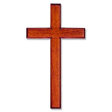 Wall Cross Solid Mahogany Wooden Carved in White Box 6  X 12