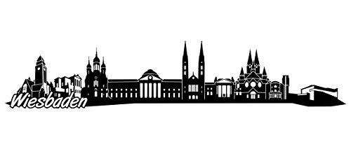 Samunshi® Wiesbaden Skyline Wandtattoo Sticker Aufkleber Wandaufkleber City Gedruckt Wiesbaden 120x24cm schwarz