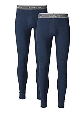 DAVID ARCHY Men's 2 Pack Soft Cotton Thermal Pants Rib Stretchy Base Layer Thermal Underwear Bottoms Long Johns Leggings (S, Navy Blue)