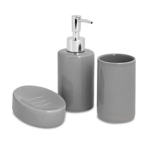 Harbour Housewares Set de baño de 3 Piezas - Dosificador de jabón, Vaso para cepillos de Dientes y jabonera - Gris
