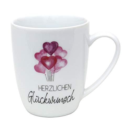 Dekohelden24 Kaffeebecher/Tasse aus Porzellan, Motiv: Herzlichen Glückwunsch. Größe H/Ø: 9,8 x 8,2 cm, Fassungsvermögen 250 ml, Spülmaschinengeeignet.