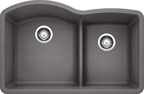 "BLANCO, Cinder 441591 DIAMOND SILGRANIT 60/40 Double Bowl with Low Divide Undermount Kitchen Sink, 32"" X 21"""
