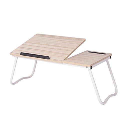 DlandHome Laptop Ajustable Mesa de Cama, Escritorio de pie portátil, Bandeja Plegable del Desayuno del sofá, Soporte para portátil Soporte de Lectura para niños, Maple