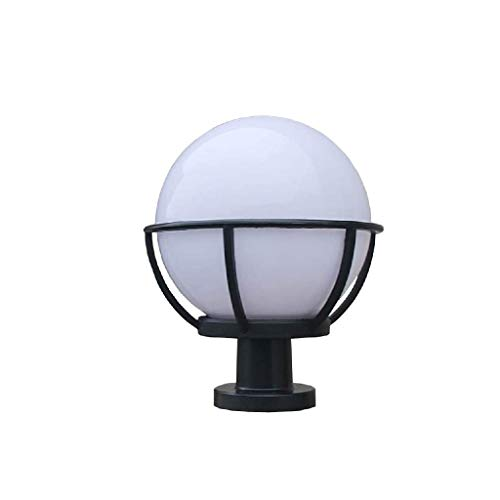 JJZXD Pilar impermeable al aire libre de la lámpara del poste a prueba de lluvia Globo Columna de luz de la linterna de la bola Yard Patio Calle Porche Puerta del accesorio de iluminación con White Pa