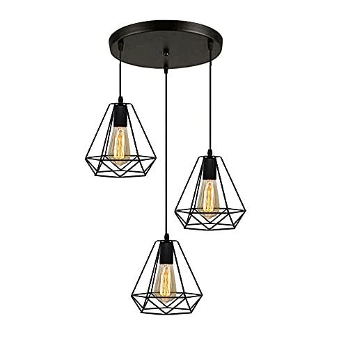 YLJYJ Lámpara Colgante Negra Retro con Pantalla de lámpara de Metal Iluminación de Techo Industrial Vintage Luces de Techo LED para Restaurante Loft