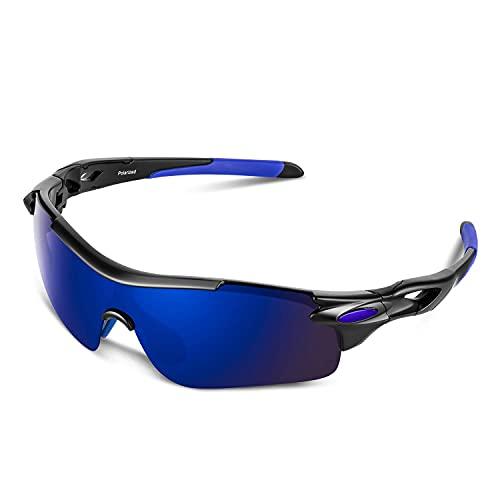 Gafas de sol para hombre, polarizadas gafas de sol de ciclismo con protección UV400 TAC Sports Gafas de sol de PC, para conducir, correr, actividades al aire libre (azul, negro y azul)