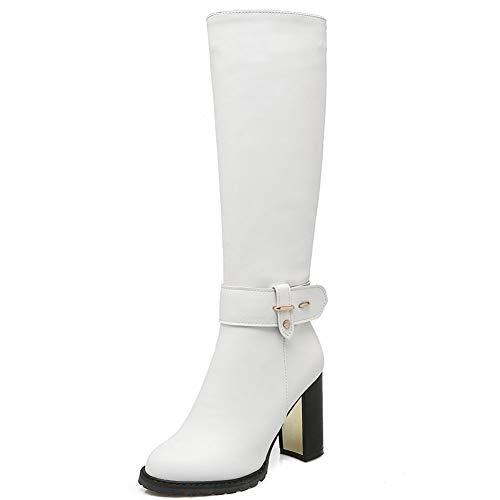 Vimisaoi Damen Elegant Seitlich Reißverschluss Block High Heel Runde Zehen Kleid Combat Schwarz Kniehohe Stiefel, - 1 weißes PU. - Größe: 37 EU