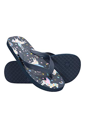 Mountain Warehouse Sunset Kids Flip Flops- Lightweight Summer Shoes & Sandals For Boys & Girls. Great for In The Garden, At Home, On The Beach & Holidays Azul Marino 35