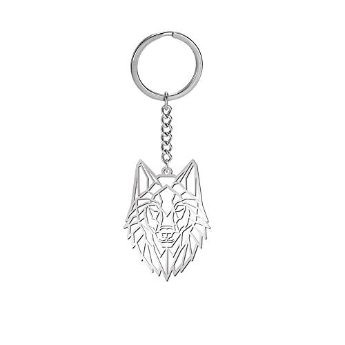 Amaxer Porte-clés en acier inoxydable en forme d'origami - Unisexe - Pour les amoureux des animaux, loup,
