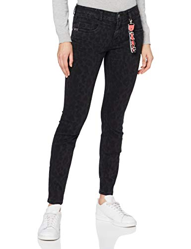 Street One Damen Style York Leo Slim Fit Jeans, Black Leo Laser Wash, 27W 30L EU