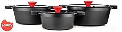 FOODY 6 piece Non-Stick GREBLON C3 + Kitchen Cookware Set pot for all types of cookers FO660