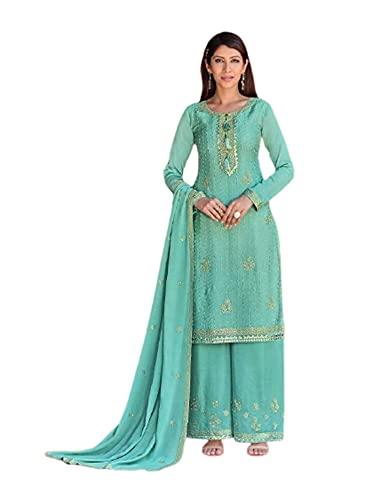 India Punjabi Mujer Brillante Verde menta listo para usar Chinnon Musulmán Partido eid Salwar kameez Plazzo Traje 6524, Como se muestra, XXL
