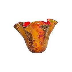 Dale Tiffany Lamps Tobias Han Blown Art Glass Vase, Multi-Colored