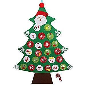 tia-ve Fieltro árbol de navidad calendario de Adviento de la cuenta Atrás para navidad calendario Regalos de navidad para niños para Colgar A La Pared decoración