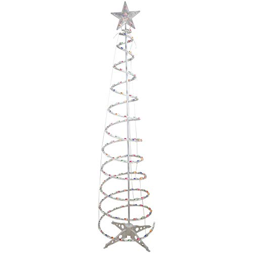 6ft Pre-Lit Spiral Christmas Tree with Star Tree Topper - Multi Color Lights | HK Emporium