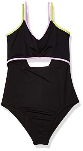 Hobie Girls' Double Strap Keyhole One Piece Swimsuit, Black//Braid Parade, 14