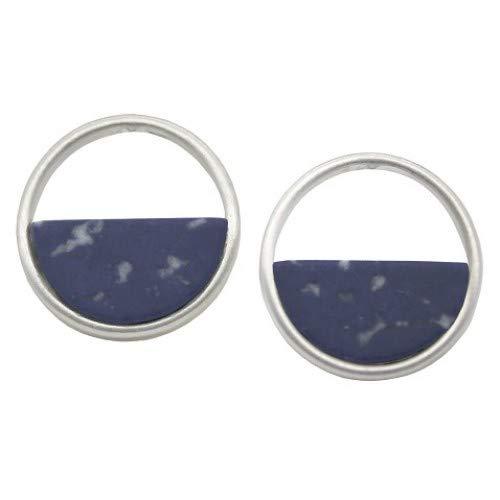 Orecchini a cerchio in argento con sodalite blu navy (1,8 cm) (I26) F)