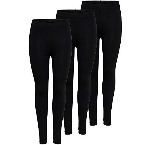 ONLY 3er Pack Leggings für Damen in schwarz - Für Freizeit, Sport, Yoga oder Fitness aus 95% Baumwolle 15248499, Hosengröße:XS, Farbe:Schwarz (Black)