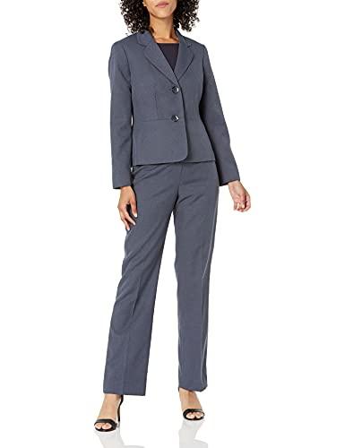Le Suit Women's 2 Button Notch Collar Twill Melange Pant Suit, Blue Grey, 16