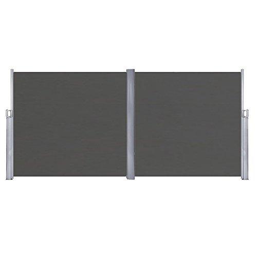 HENGMEI 180x600cm Sichtschutzwand Sichtschutz Sonnenschutz Seitenrollo Markise für Balkon Terrasse Garden (180 cm, Anthrazit)
