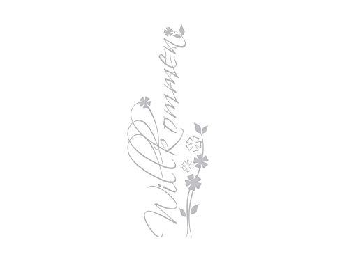 GRAZDesign Fenstertattoo Willkommen mit Blumen, Fensteraufkleber Flur, Glastür Aufkleber / 79x30cm
