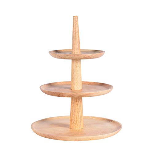 Bandeja de madera redonda, soporte de 3 capas, plato de madera, plato de frutas, soporte para tartas de boda, plato de queso, plato de ensalada