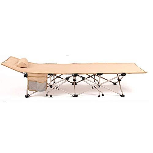 ShiSyan Plegable cama adultos de doble capa de los niños de tela espesa el recorrido al aire libre que acampa plegable de la cama Tumbona Visitante cama (Color: Beige, Tamaño: 190x67x35cm) Sillas pleg