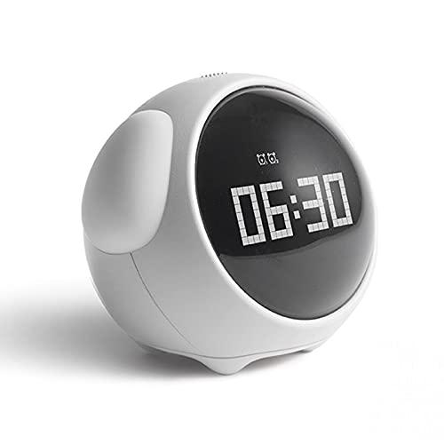 Tiempo para Despertar el Reloj de Alarma para niños, Entrenador de sueño Infantil, Control táctil y Snoozing con Relojes Recargables de 1500mAh, niños despiertos, máquina de Sonido de sueño,Blanco