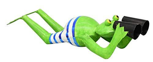 ETC Kleiner lustiger Dekofrosch Gartendeko Metall-Frosch mit Fernglas Spanner Metall bemalt liegend (blau-weiß)