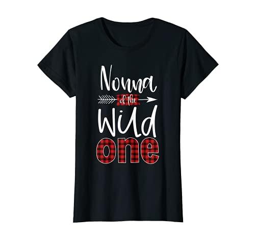 Mujer Nonna of the Wild One Buffalo - Leñador de cuadros (1er cumpleaños) Camiseta