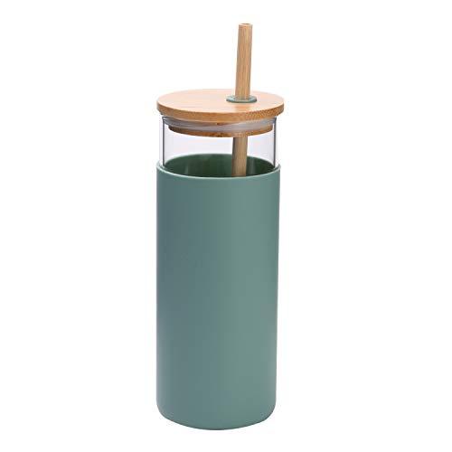 Minichef Vaso de vidrio de 18 oz con tapa de bambú y vaso de jugo de paja, botella de agua de vidrio de silicona, sin BPA (verde menta)