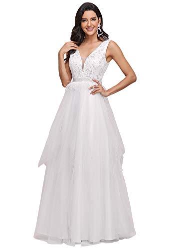 Ever-Pretty Vestido de Novia Largo para Mujer A-línea Escote en V Apliques...