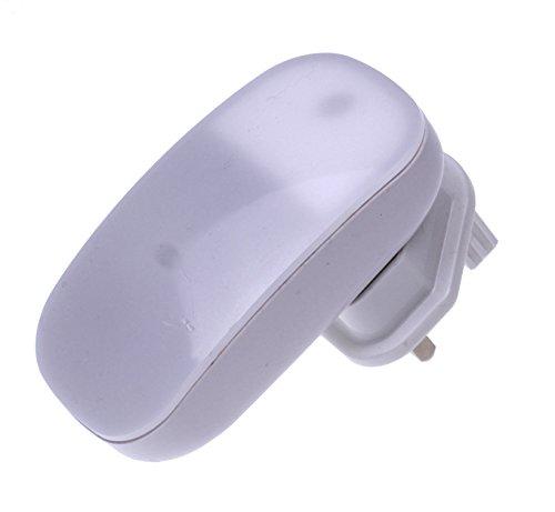 Ansmann–Luz de noche, diseño redondo con enchufe, brillo suave para dormitorio, armario, pasillo, tienda, garaje o cobertizo, plástico, Blanco, 1 pack