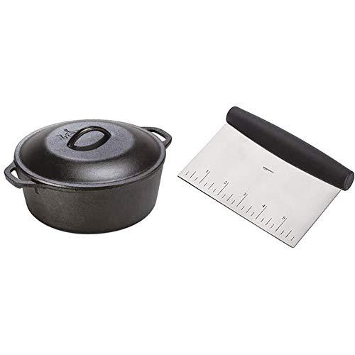 Lodge 5 Quart Cast Iron Dutch Oven. Pre-Seasoned Pot with Lid and Dual Loop Handle & AmazonBasics Stainless Steel Bowl Scraper/Chopper