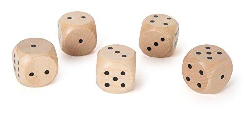 Small Foot 10681 Würfelset aus naturbelassenem Holz mit fünf XXL-Würfeln, leichtes Ablesen und angenehmer Würfelspaß, passend für jedes Würfelspiel