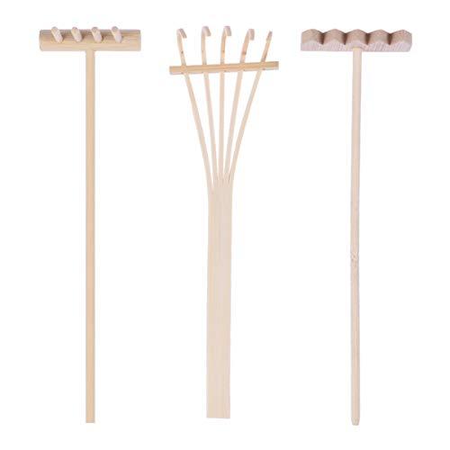 HEALLILY 3 Stück Mini Zen Sand Rechen Holz Bambus Rechen Werkzeug Fee Garten Rechen Miniaturen Garten Dekoration Feng Shui Ornamente