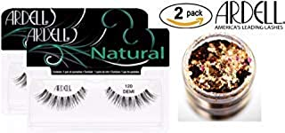 Ardell Professional NATURAL Lashes (2-PACK with bonus Skin/Hair Glitter) (120 Demi Black (2-PACK))