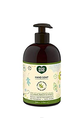 ecoLove Liquid Hand Soap with Organic Cucumber Spinach and Parsley, Vegan Natural Hand Soap for Women Men Kids Babies, SLS Paraben and Cruelty Free, 17.6 oz