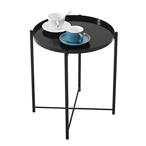 Metal End Table Round Coffee Table Small Side Table Bedside Table Sofa Table Garden Table Pation Table Snack Table Display Table End Table For Living Room Bedroom Garden Hallway (Black)