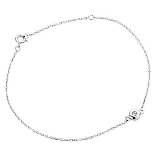 Miore Pulsera de diamante para mujer, cadena de ancla con diamante solitario de 0,03 quilates, oro...