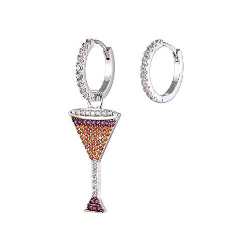 Orecchini a cerchio da donna a forma di bicchiere di vino rosso, ipoallergenici, placcati in argento e oro rosa, con scintillanti cristalli di zircone, idea regalo per mamma e amici