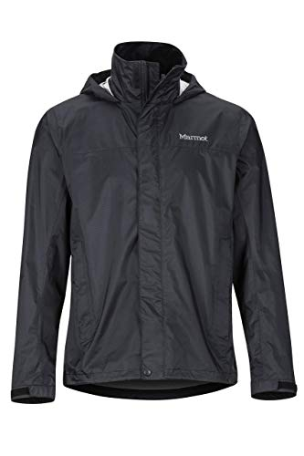 Marmot Men's PreCip Eco Jacket, Waterproof Jacket, Lightweight Hooded Rain Jacket, Windproof Raincoat, Breathable Windbreaker, Ideal for Running and Hiking, Black, M