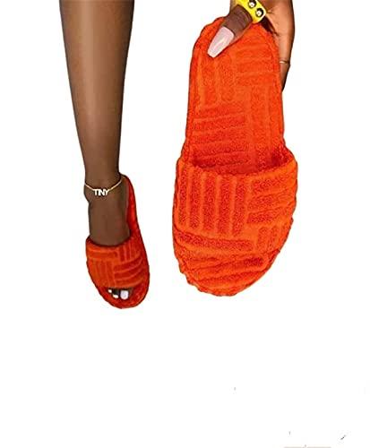 YUDIAO Zapatillas de Piel para Mujer, Punta Abierta, Espuma viscoelástica, cómodas y Planas, cómodas Zapatillas Premium ortopédicas, Zapatos de casa de Verano (Naranja,36)